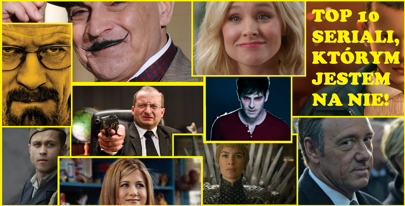 Top 10 seriali - gra o tron, house of cards, netflix, poirot.